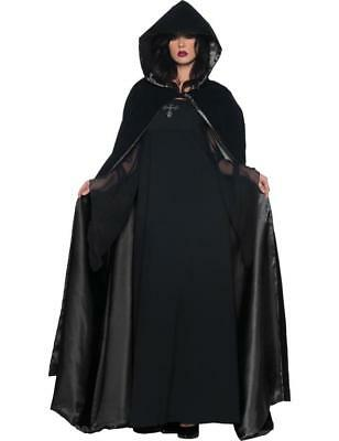 Adult Black Velvet Satin Cape Cloak Witch Vampire Halloween Fancy Dress Costume