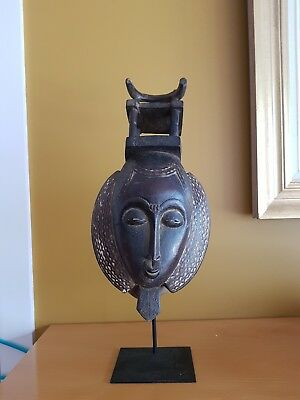 Baoulé African Mask (Ivory Coast) with Stand