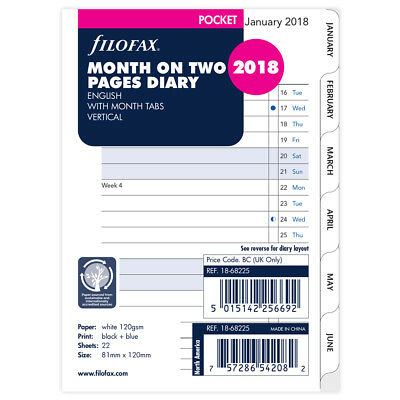 NEW Filofax Pocket Month On Two Pages w/Month Tabs 2018 Refill