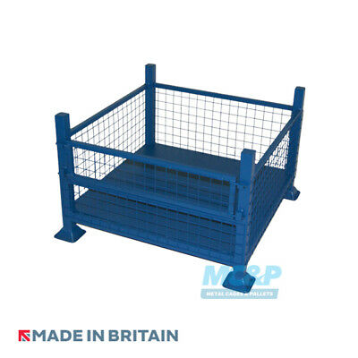 Half Drop Fronted Metal/Steel Mesh Stillage (Pallet) - Made in the UK