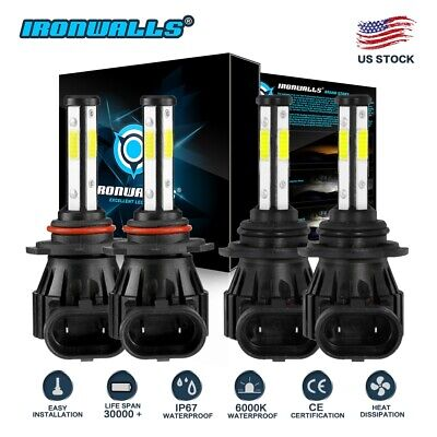 9005+9006 6000K 3600W 540000LM Combo 4-sides LED Headlight Kit Hi/Lo Light Bulbs