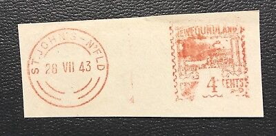 Newfoundland Canada 1943, Early 4C Meter Stamp
