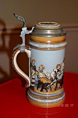 Antique Etched Mettlach German Beer Stein Students Celebrating, Signed Dtd. 1897