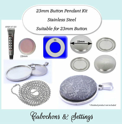 10 x 23mm BUTTON Pendant Kit Non Tarnish Stainless Steel inc Chain. Variations
