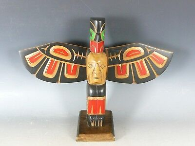 Native American Indian North West Coast Carved Wood Eagle Totem 20Thc