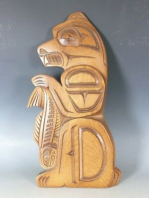 Native American Indian North West Coast Carved Wood Bear With Salmon 20Thc