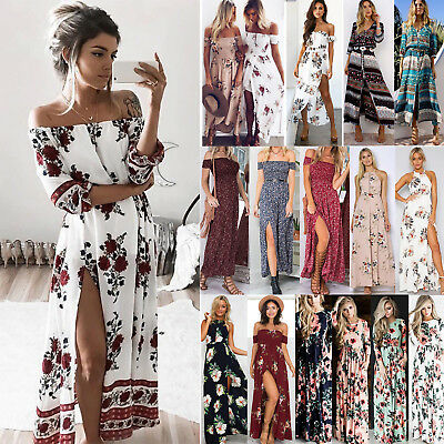 Womens Off Shoulder Holiday Long Dress Ladies Summer Floral Maxi Dress Size 6-16
