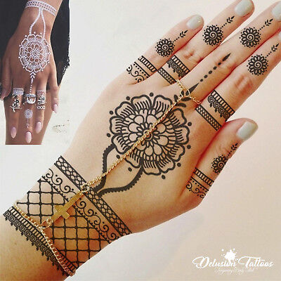 Henna Temporary Tattoo, Flower Pendant & Lace, Black Or White, Womens, Bride
