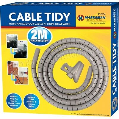 2 Metre Grey Cable Tidy Kit PC TV Wire Organising Wrap Tool Spiral Office Home