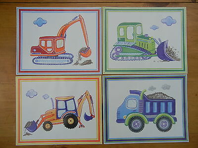 Baby Nursery Kids Room CONSTRUCTION VEHICLE Themed Wall Hangings~Set of 4