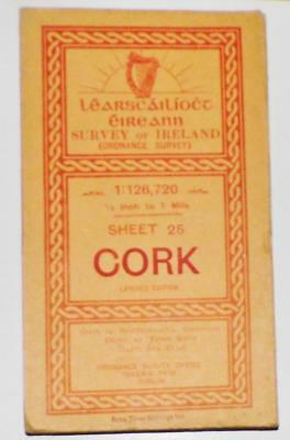 Large Co. Cork Ordnance Survey Map of Ireland Sheet 25 on Linen Color 32x28in