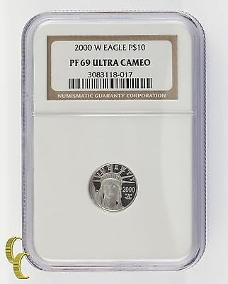 2000-W Platinum 1/10 Ounce P$10 Statue of Liberty Graded by PF69 Ultra Cameo