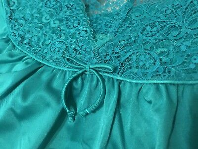 Vintage Shadowline Nylon Nightgown~Teal Green ~Lacy Front /back-Sz Med.