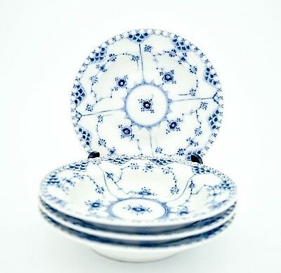 4 Deep Plates #1170 - Blue Fluted - Royal Copenhagen - Full Lace - 1:st Quality