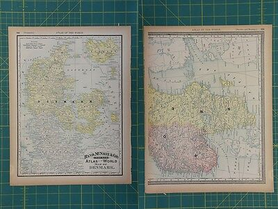 Map globe mixed lots maps atlases globes antiques page 9 denmark vintage original 1894 rand mcnally world atlas map lot gumiabroncs Images