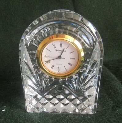 Waterford Crystal Small Dome Clock with new battery Gold Rim