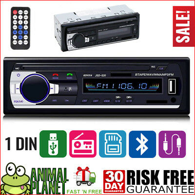 Car Stereo Receiver Radio Bluetooth In Dash 1 Single Din MP3 USB AUX FM Player