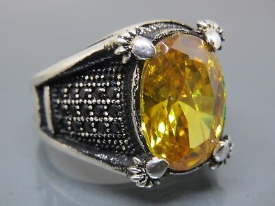 Turkish Handmade Jewelry 925 Sterling Silver Citrine Stone Men's Ring Sz 9,5