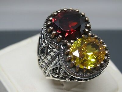 Turkish Handmade Jewelry 925 Sterling Silver Garnet & Citrine Men's Ring Sz 12