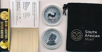2017 50Th Anniversary Silver Krugerrand 1 Oz Only 600K  Minted !+ Cert/mint Bag