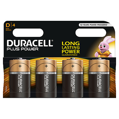 4x Duracell Plus Power Batterie D Mono 1,5V LR20 MN1300 E95 R20 AM1 UM1 Torcia