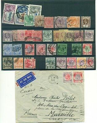 Malaya STRAITS SETTLEMENTS  6 covers + 37 used stamps