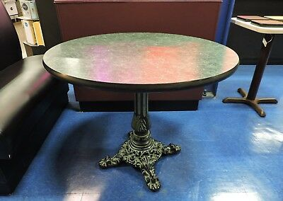 "Green Round Top Restaurant Table with Vintage Cast Iron Base - 36"" diameter"