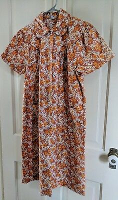 SEARS COMFORT COAT VTG 60's/70's Floral House Coat Robe Dress Pearl Buttons LG