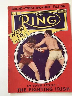 """September , 1932 . """"The Ring """" boxing magazine extraordinarilly clean copy"""