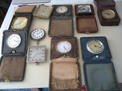 Old mainly 8-day travel clocks and alarms for spares or repair