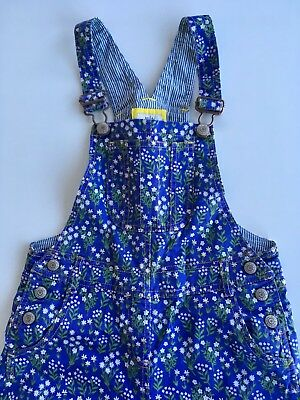 Mini Boden Girls Periwinkle Blue Floral Denim Dungarees, 7-8 Years