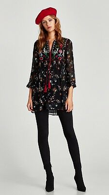 Zara Embroidered Dress With Pompom Detail Nwt Size Xs 29 00