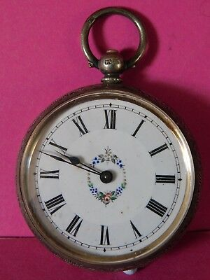 Antique  Patterned Case Solid Silver Pocket Watch