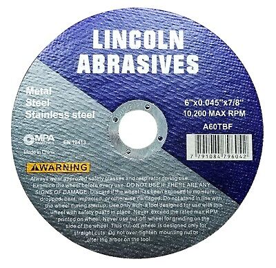 """10 Pack 6"""" x .045"""" x 7/8"""" Cut-off Wheel Cutting Discs Stainless Steel & Metal"""