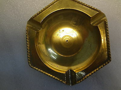 "Vintage Collectible Solid Brass Hexagon Shape Ashtray Rope Edge Design 5"" Across"