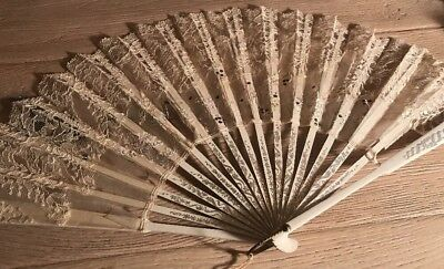 Vintage To Antique Silk And Lace Wedding Hand Fan Painted Wood Slats