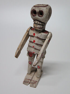 Vintage Hand Painted-Carved Polychrome Wooden Skeleton w Movable Arms Guatemala