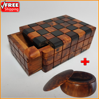 Puzzle Box Secret Thuya Wood Moroccan Hide Stuf, Brain Teaser, FREE SHIP + GIFT