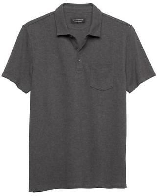 NWT Mens Banana Republic Wicking Pique Cotton Polo Shirt Charcoal Grey $36 *2W