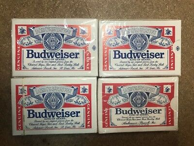 4-Vintage collector Budweiser Playing Cards New Sealed In Box's