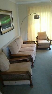 A beautiful antique  French colonial Bergere 3 seater sofa and 2 single chairs