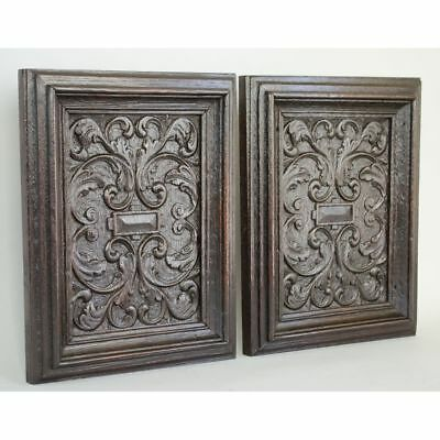 Stunning Pair Carved Antique 17th c English Geometric Decorative Salvaged Panels