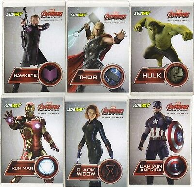 """Subway """" Marvel Avengers , Age Of Ultron """" 6 Card Promo   Collector Card Set"""
