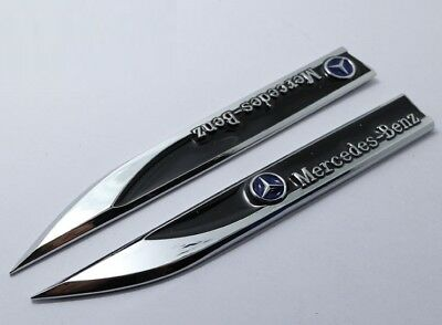 2 pcs Mercedes Benz Black Side Wing Fender Badges Sticker Sport Style Emblem