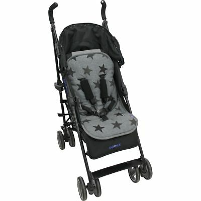 Dooky Multicomforter Padded Seat Liner Buggy Pushchair Pram Soft Grey Stars