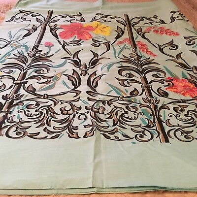"""Vintage Polished Cotton Hand painted Fabric 3 Yards Floral 38"""""""
