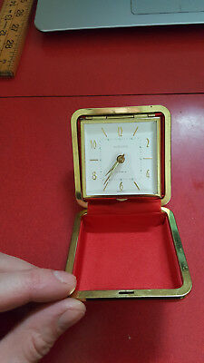 Vintage EUROPA Clam Shell Travel Alarm Clock 2 Jewels Made in Germany