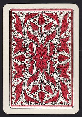 1 Single ANTIQUE Playing/Swap Card OLD WIDE REVERSIBLE LEAVES H/Bone Red/White