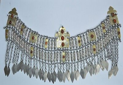 Large antique central Asian Turkmen silver gilt and breast piece necklace