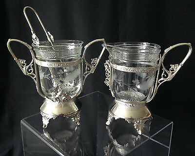 Victorian silver plated sugar bowl & creamer with etched cut glass inserts